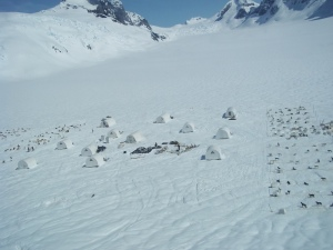 Setting up dog camp on an Alaskan glacier.